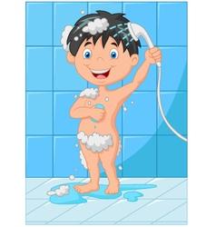 cartoon happy baby boy bath vector image