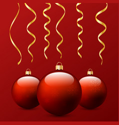 christmas balls and serpentine on a red vector image vector image