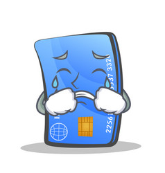 Crying credit card character cartoon vector