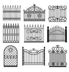 Decorative black silhouettes of fences with gates vector image vector image