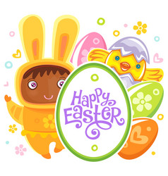 easter card with egg hunting rabbit child vector image