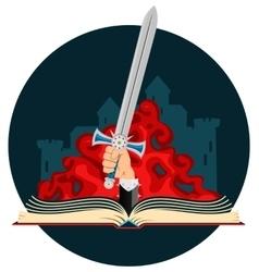 Fantasy book with sword vector