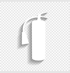 fire extinguisher sign white icon with vector image