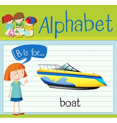 Flashcard letter B is for boat vector image