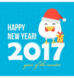 Flat design new year card with cartoon rooster vector image vector image