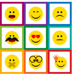 Flat icon emoji set of smile hush sad and other vector