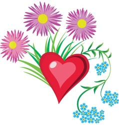 heart in flowers vector image vector image