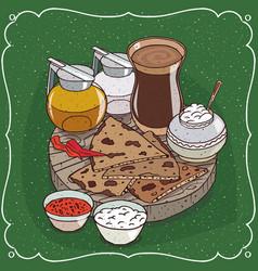 Indian masala chai tea and jug honey and milk vector