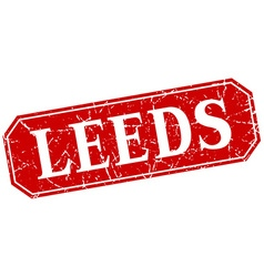 Leeds red square grunge retro style sign vector
