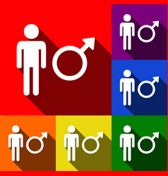 Male sign set of icons with vector