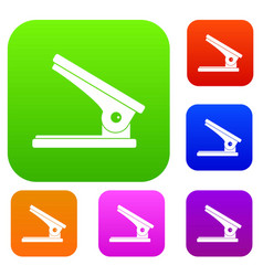 office paper hole puncher set color collection vector image
