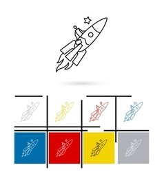 On rocket to stars line icon vector