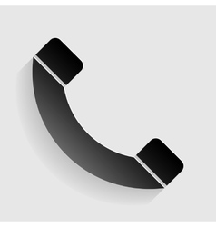 Phone sign Black paper with shadow vector image