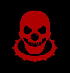 Red bald skull clown head logo emblem symbol vector