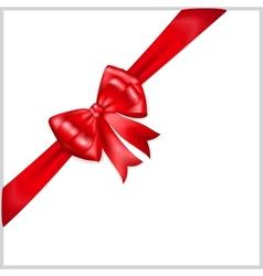 Red bow with diagonally ribbon vector image vector image