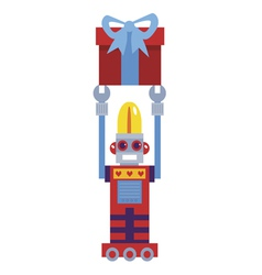 Retro robot with gift vector