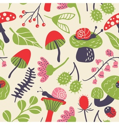 seamless pattern with mushroom ladybird snail flow vector image