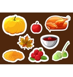 Set of stickers for Happy Thanksgiving Day Badge vector image