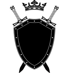 shield swords and crown vector image vector image