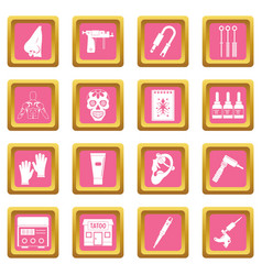 Tattoo parlor icons pink vector