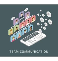Team communication via smartphone app vector