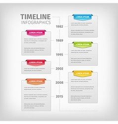 Timeline infographics with soft gray boxes and vector
