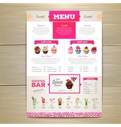 Vintage dessert menu design vector