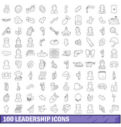 100 leadership icons set outline style vector
