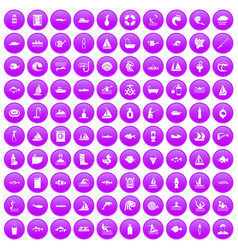 100 water icons set purple vector