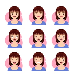 Woman shot hair face emotion vector