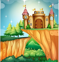 Scene with castle on the cliff vector