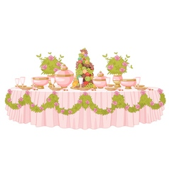 Dining table in princess palace vector