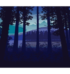 Background of landscape with river deep forest and vector