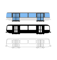 set of flat metro icon cartoon outline vector image