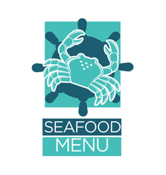 Seafood menu of lobster crab on ship helm vector