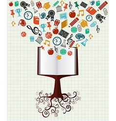 Education colorful icons book tree vector image