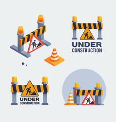 under construction logos set badges vector image