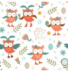 Cute easter owls pattern vector