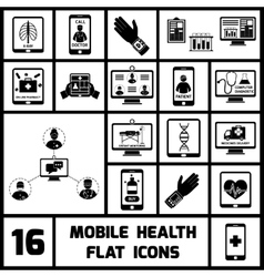 Mobile health icons set black vector