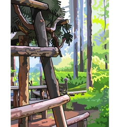 Wooden structure in sunny summer forest vector