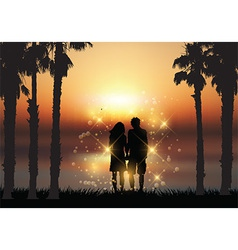 Couple holding hands against a sunset background vector