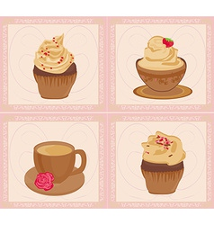 Menu coffee shop card set vector