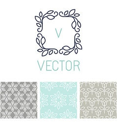 Set of floral border and seamless patterns vector