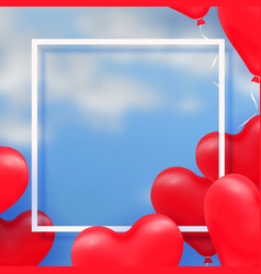 3d paper cut of 3d glossy red balloon vector image