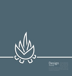 Logo of bonfire symbol of camping simple flat sty vector