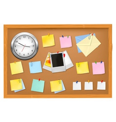 Clock office supplies on brown desk horiz vector