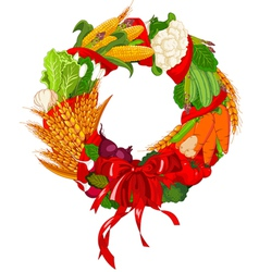 Autumn vegetable wreath vector