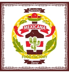Mexican food tacos and burritos menu poster vector