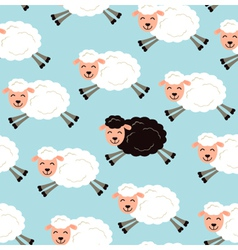 Black sheep in a flock vector image