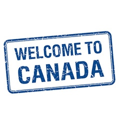 Welcome to canada blue grunge square stamp vector